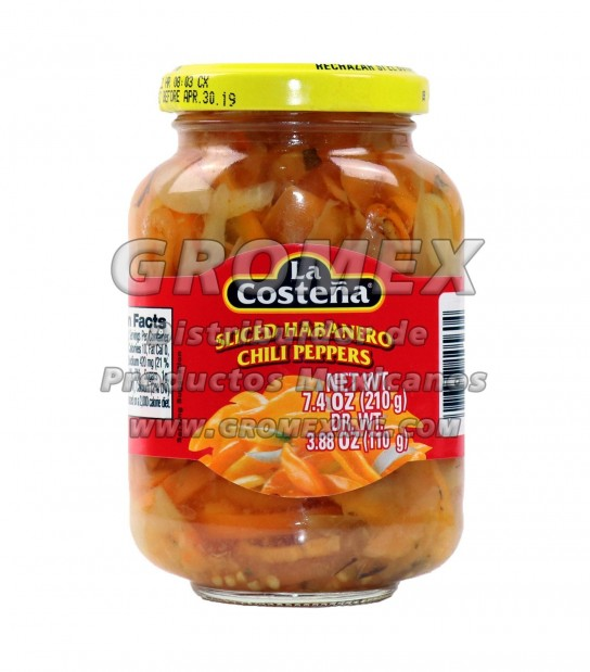 La Costeña Sliced Habanero 12/7.4 oz